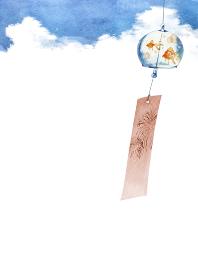風鈴 金魚 背景 水彩 イラスト