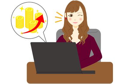 パソコン 女性 ビットコイン アップ
