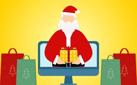 オンラインでプレゼントを届けるサンタクロースのおじいさん