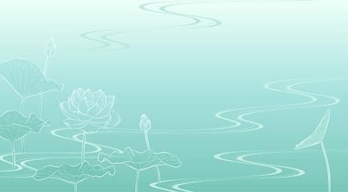 流水に蓮の花の背景イラスト(薄緑)