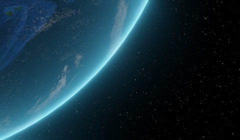 宇宙に浮かぶ神秘的な青い地球