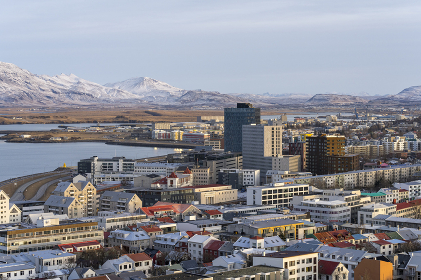 View over Reykjavik at winter.