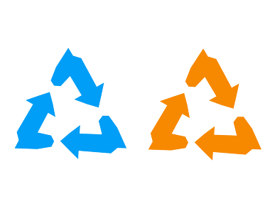 青色と赤色のリサイクルのアイコン