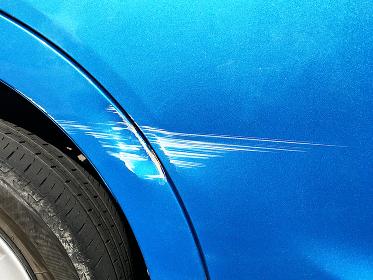 自損事故による車体の傷