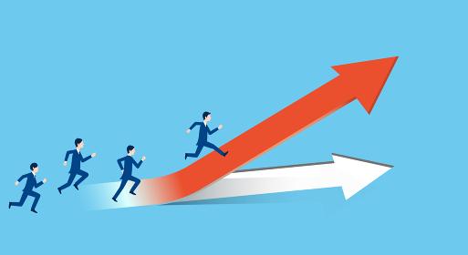 上昇する矢印の上を走るビジネスパーソン、ポジティブなビジネスイメージ