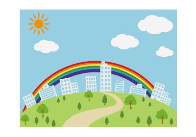 ビルの街並みと虹 イラスト ベクター