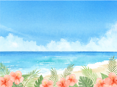 海とハイビスカスと青空 夏の背景 水彩イラスト