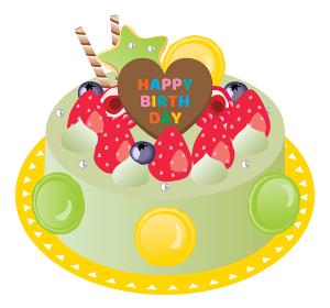 苺と抹茶とマカロンのお誕生日ケーキ