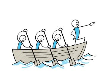 航海する棒人間 ボートを漕ぐ