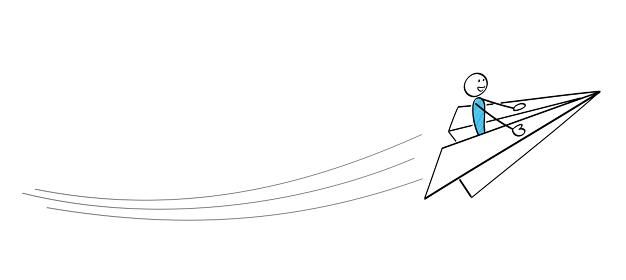 棒人間 紙飛行機で飛ぶ