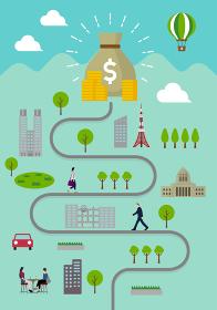 縦長のバナー・挿絵 / ドル袋と人々の日常風景 (ビジネスの成功・資産・経済的成功)