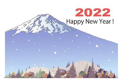 年賀状テンプレート2022、雪降る富士山と里村