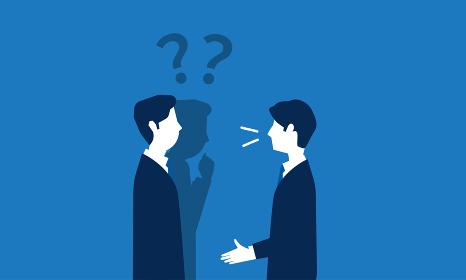 二人のビジネスパーソン、会話を理解できないイメージ