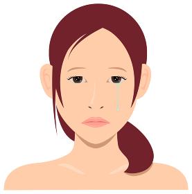若い日本人女性モデル 上半身イラスト(美容・フェイスケア) / 悲しい顔・涙・泣き顔