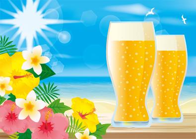 夏の海リゾートでビールのイラスト