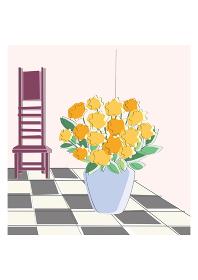 花瓶と椅子 チェック柄の床 風景