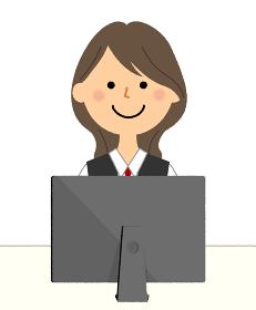 PCと制服姿の女性