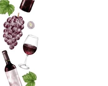 葡萄と赤ワイン 柄 水彩風イラスト