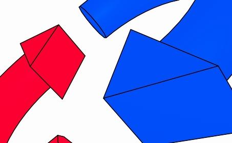 アップした赤と青のループ矢印【黒淵アリ】
