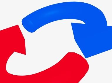 アップした赤と青の矢印のループイメージ素材