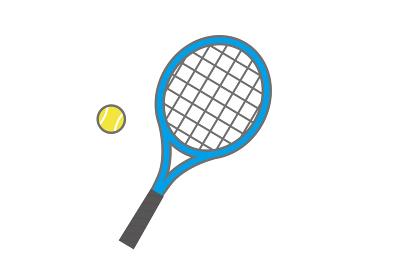 青いテニスラケットとテニスボール