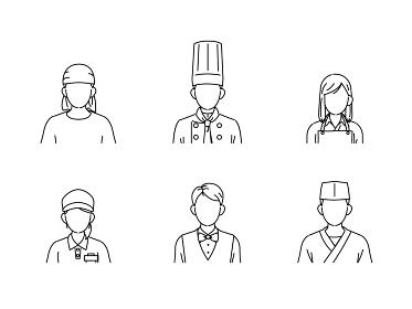 料理人 シェフ 調理師 アイコン 飲食店の店員 人々 顔なし イラスト素材