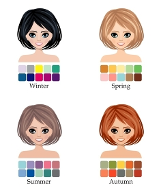 Seasonal color types of woman face, hair, skin and eyes.  Winter, Spring, Summer and Autumn. Vector