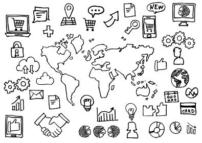 手書きアイコンセット-世界地図とインターネットビジネス