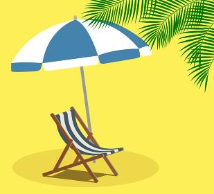 夏のビーチ パラソルとビーチチェア ヤシの葉