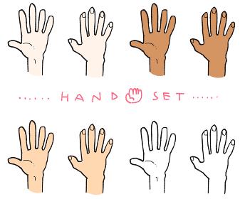 様々な色の手のイラスト