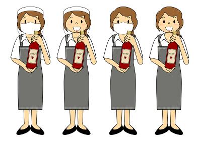 飲食店の若い女性店員 マスク フェイスシールド セット イラスト