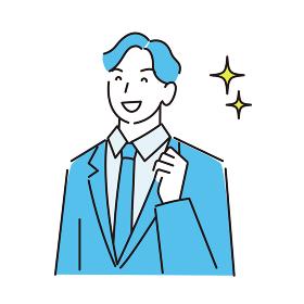 スーツ姿の男性 笑顔 程よいシンプルなイラスト ベクター
