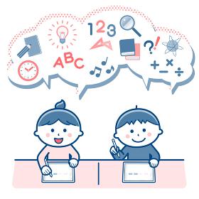 タブレット端末を使って勉強する子どもたち/2色