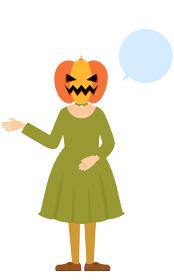 ハロウィンの仮装、カボチャのお化け姿の女の子が右手を出して話しているポーズ(吹き出しつき)