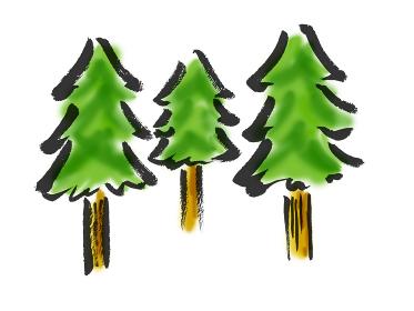 木が三本の手描きイラスト