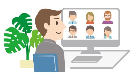 オンライン会議に参加する若い男性ビジネスマン