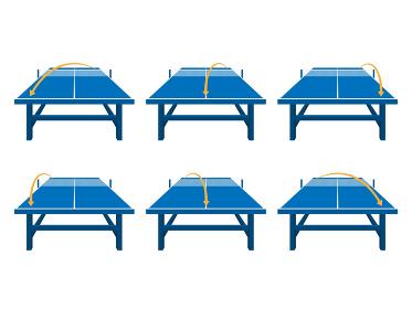 卓球台のコースを指示したイラストセット