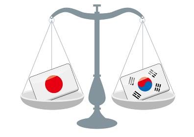 天秤と国旗 日本と韓国の国旗 国家対立 国家紛争 国際司法 貿易のイメージイラスト