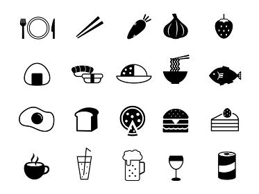 食べ物アイコンマークセット