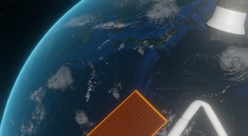 宇宙船から見た地球のイメージ素材、3Dレンダリング