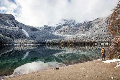 lake in mountains late autumn, Alps, Italy