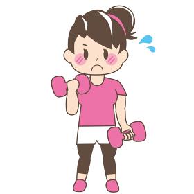 [美容・ダイエット]ダンベルで筋トレをしているお団子頭の女性