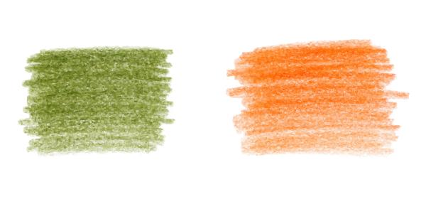 色鉛筆の手描きのストローク セット