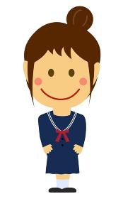 デフォルメ・二頭身 日本人 女性・女子学生 全身人物イラスト