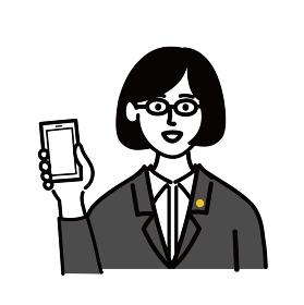 女性 ミドルエイジ 士業 メガネ ベクター ポップ 携帯電話 スマホ