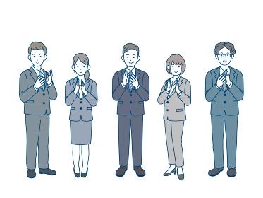 拍手 歓迎 祝う 会社員 スーツ姿 男女 全身 イラスト素材