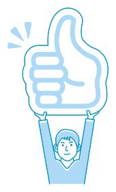 イイね・サムズアップマークのプラカードを持ち上げる 若い男性 人物イラスト(上半身)