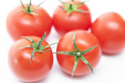 白い背景にトマト。夏のイメージ。