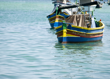 Traditional colours of the fishing boat of Malta, the Dghajsa