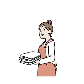 洗濯物を畳む 取り込む 主婦 女性 イラスト素材